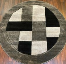MODERN 140X140CM CIRCLE RUGS WOVEN BACK HAND CARVED BLOCKS RANGE GREY/BLACK..